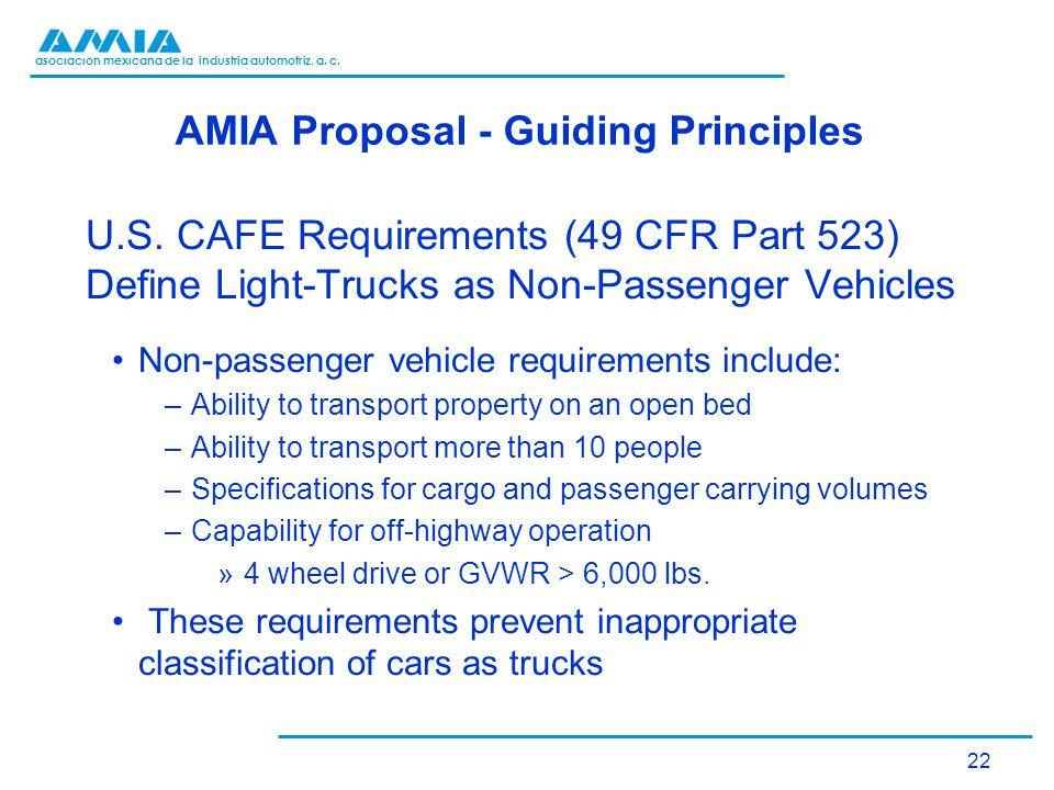 asociación mexicana de la industria automotriz, a. c. AMIA Proposal - Guiding Principles U.S. CAFE Requirements (49 CFR Part 523) Define Light-Trucks