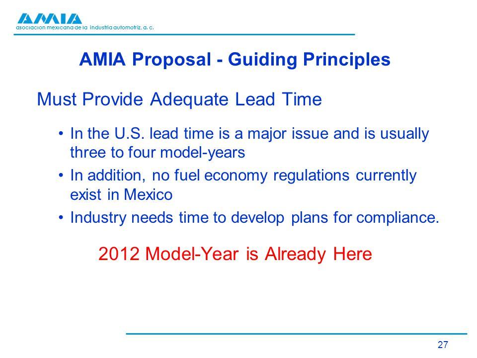 asociación mexicana de la industria automotriz, a. c. AMIA Proposal - Guiding Principles Must Provide Adequate Lead Time In the U.S. lead time is a ma