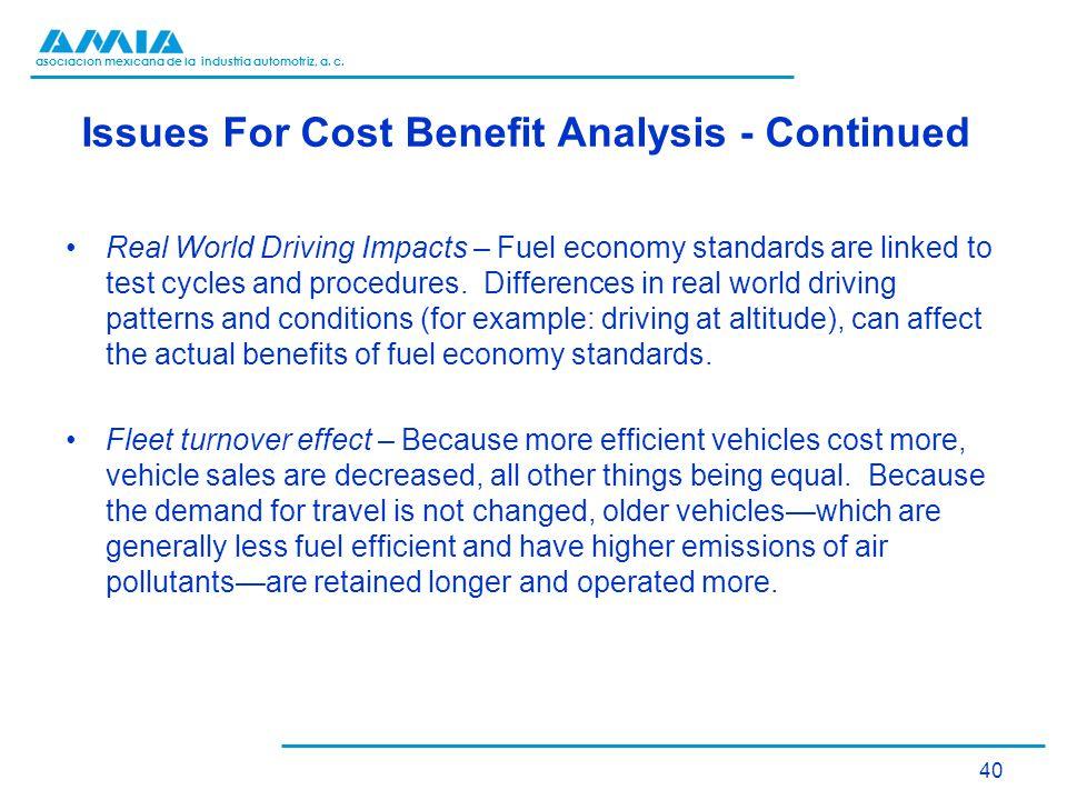 asociación mexicana de la industria automotriz, a. c. Issues For Cost Benefit Analysis - Continued Real World Driving Impacts – Fuel economy standards
