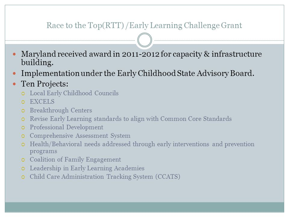 Race to the Top(RTT) /Early Learning Challenge Grant Maryland received award in for capacity & infrastructure building.