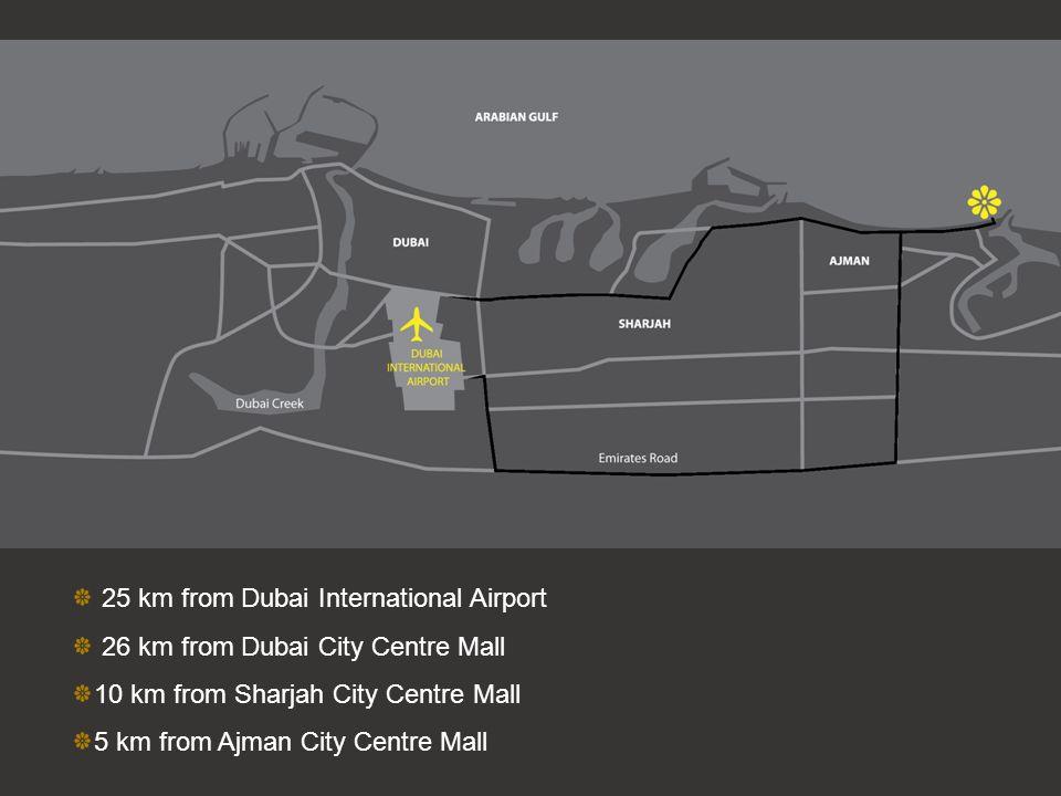 25 km from Dubai International Airport 26 km from Dubai City Centre Mall 10 km from Sharjah City Centre Mall 5 km from Ajman City Centre Mall