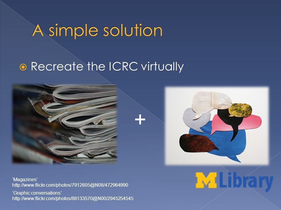 Recreate the ICRC virtually Magazines http://www.flickr.com/photos/7912605@N08/472964990 Graphic conversations http://www.flickr.com/photos/88133570@N00/2945254545 +