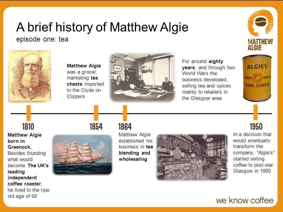In a decision that would eventually transform the company, Algies started selling coffee to post-war Glasgow in 1950 A brief history of Matthew Algie