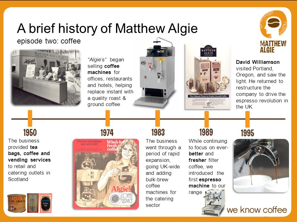 A brief history of Matthew Algie episode two: coffee The business provided tea bags, coffee and vending services to retail and catering outlets in Scotland The business went through a period of rapid expansion, going UK-wide and adding bulk-brew coffee machines for the catering sector While continuing to focus on ever- better and fresher filter coffee, we introduced the first espresso machine to our range David Williamson visited Portland, Oregon, and saw the light.