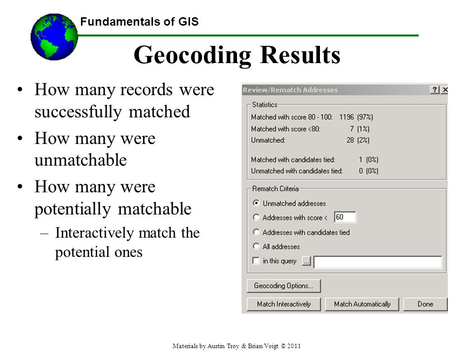 Fundamentals of GIS Geocoding Results How many records were successfully matched How many were unmatchable How many were potentially matchable –Interactively match the potential ones Materials by Austin Troy & Brian Voigt © 2011