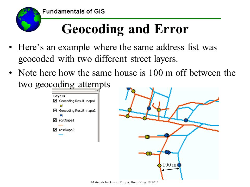 Fundamentals of GIS Geocoding and Error Heres an example where the same address list was geocoded with two different street layers.