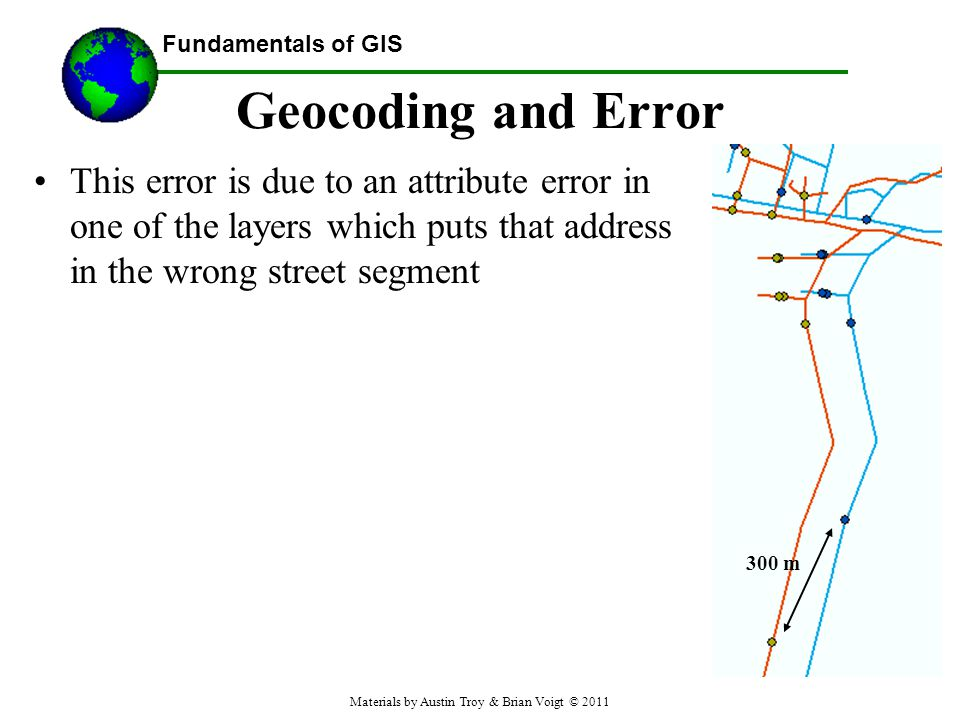 Fundamentals of GIS Geocoding and Error This error is due to an attribute error in one of the layers which puts that address in the wrong street segment 300 m Materials by Austin Troy & Brian Voigt © 2011