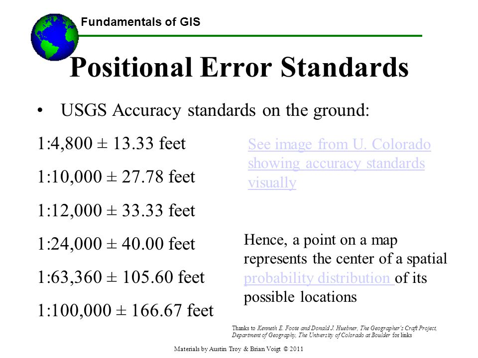 Fundamentals of GIS Positional Error Standards USGS Accuracy standards on the ground: 1:4,800 ± 13.33 feet 1:10,000 ± 27.78 feet 1:12,000 ± 33.33 feet 1:24,000 ± 40.00 feet 1:63,360 ± 105.60 feet 1:100,000 ± 166.67 feet See image from U.