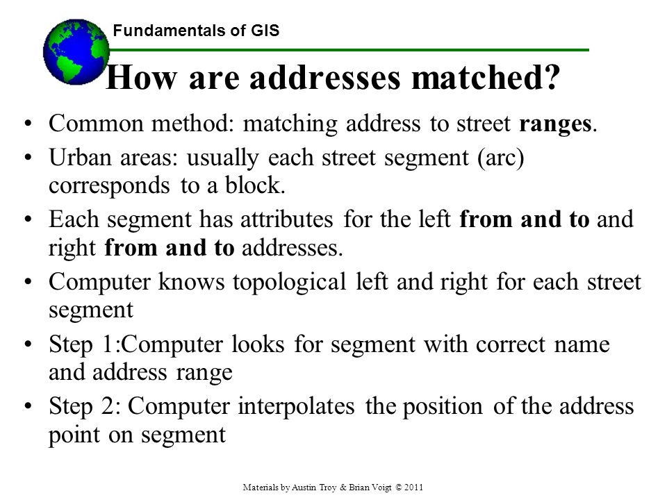 Fundamentals of GIS How are addresses matched.Common method: matching address to street ranges.