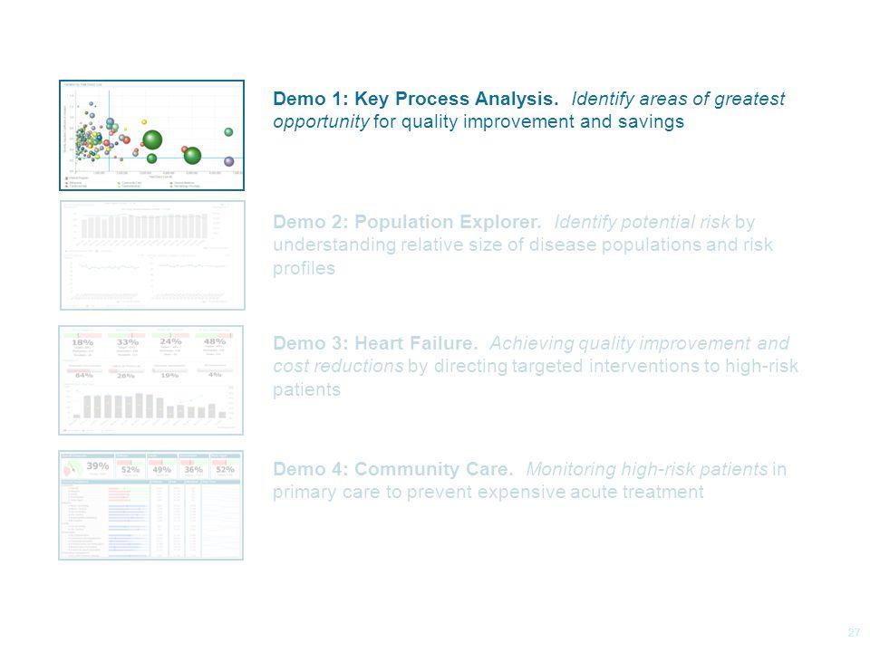 © 2014 Health Catalyst www.healthcatalyst.com Proprietary and Confidential Follow Us on Twitter #TimeforAnalytics c 27 Demo 1: Key Process Analysis.