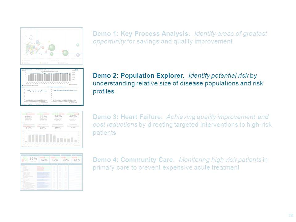 © 2014 Health Catalyst www.healthcatalyst.com Proprietary and Confidential Follow Us on Twitter #TimeforAnalytics c 28 Demo 1: Key Process Analysis.