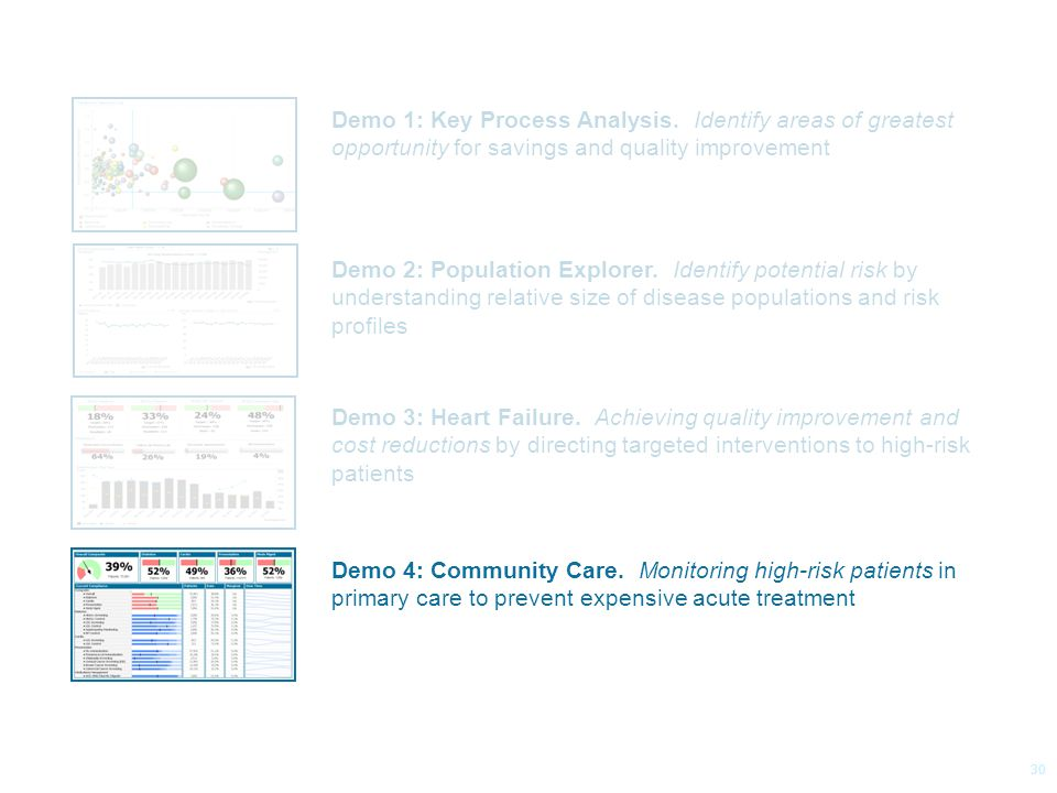 © 2014 Health Catalyst www.healthcatalyst.com Proprietary and Confidential Follow Us on Twitter #TimeforAnalytics c 30 Demo 1: Key Process Analysis.