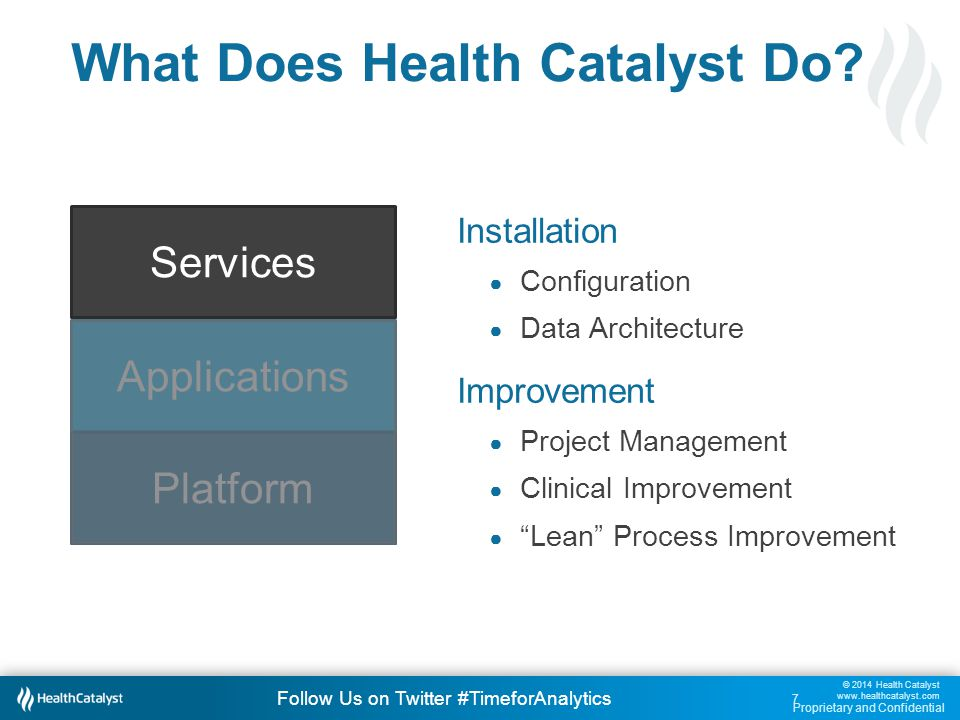 © 2014 Health Catalyst www.healthcatalyst.com Proprietary and Confidential Follow Us on Twitter #TimeforAnalytics c 28 Demo 1: Key Process Analysis.