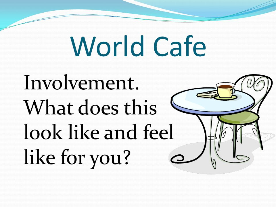 World Cafe Involvement. What does this look like and feel like for you