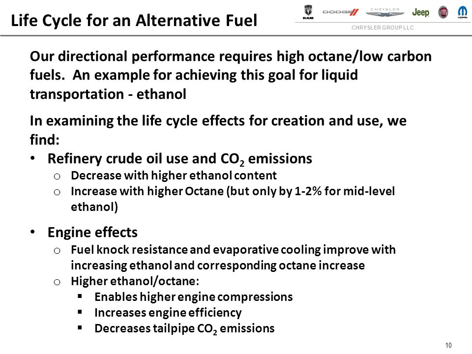 CHRYSLER GROUP LLC 10 Life Cycle for an Alternative Fuel Our directional performance requires high octane/low carbon fuels.
