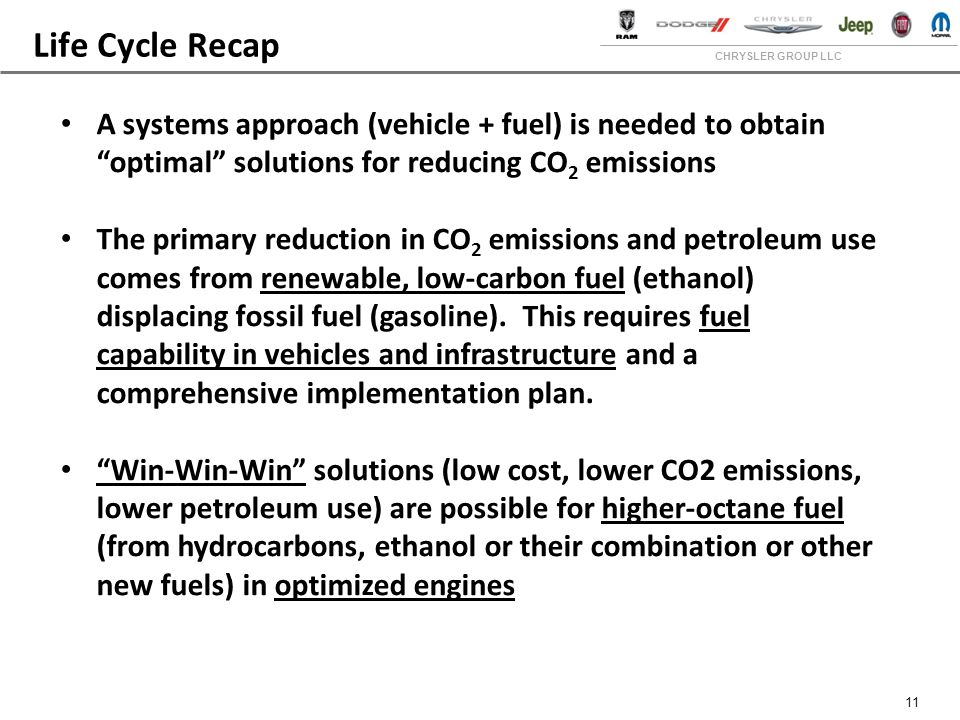 CHRYSLER GROUP LLC 11 Life Cycle Recap A systems approach (vehicle + fuel) is needed to obtain optimal solutions for reducing CO 2 emissions The primary reduction in CO 2 emissions and petroleum use comes from renewable, low-carbon fuel (ethanol) displacing fossil fuel (gasoline).