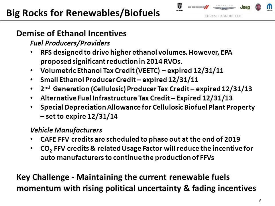 CHRYSLER GROUP LLC 6 Big Rocks for Renewables/Biofuels Demise of Ethanol Incentives Fuel Producers/Providers RFS designed to drive higher ethanol volumes.