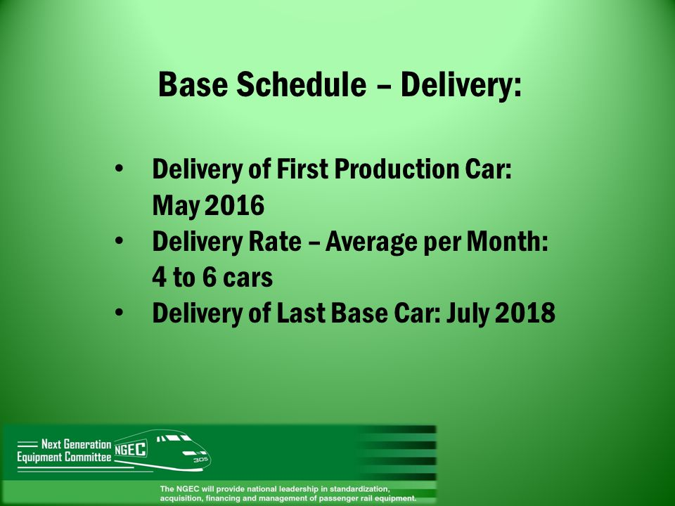 Base Schedule – Delivery: Delivery of First Production Car: May 2016 Delivery Rate – Average per Month: 4 to 6 cars Delivery of Last Base Car: July 20