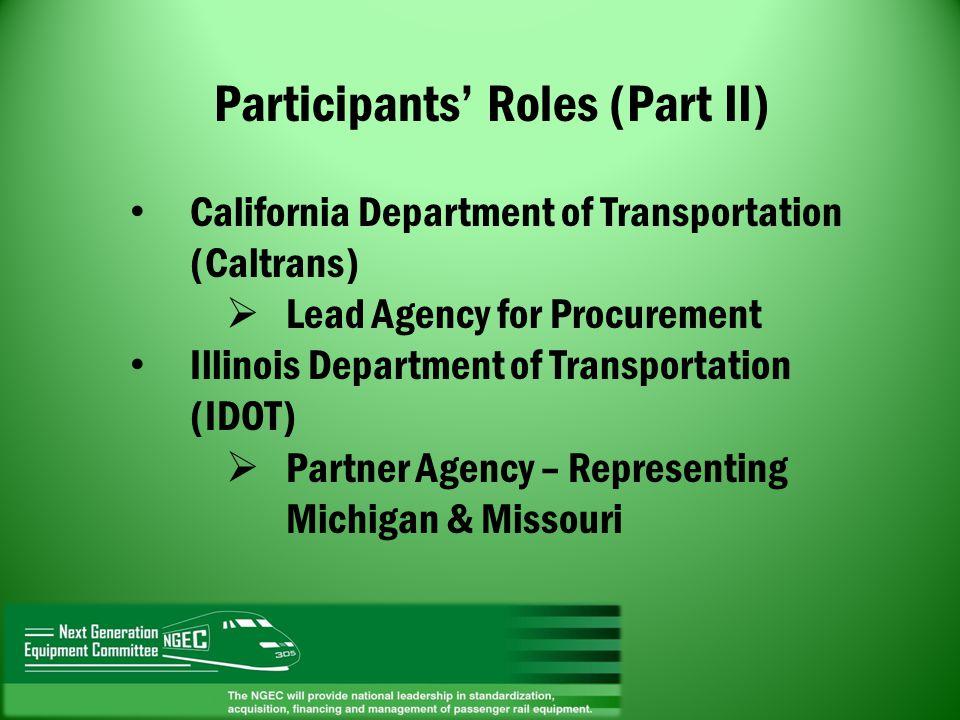 Participants Roles (Part II) California Department of Transportation (Caltrans) Lead Agency for Procurement Illinois Department of Transportation (IDO