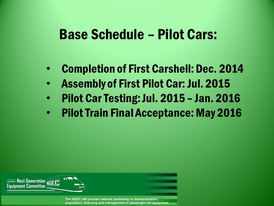 Base Schedule – Pilot Cars: Completion of First Carshell: Dec. 2014 Assembly of First Pilot Car: Jul. 2015 Pilot Car Testing: Jul. 2015 – Jan. 2016 Pi
