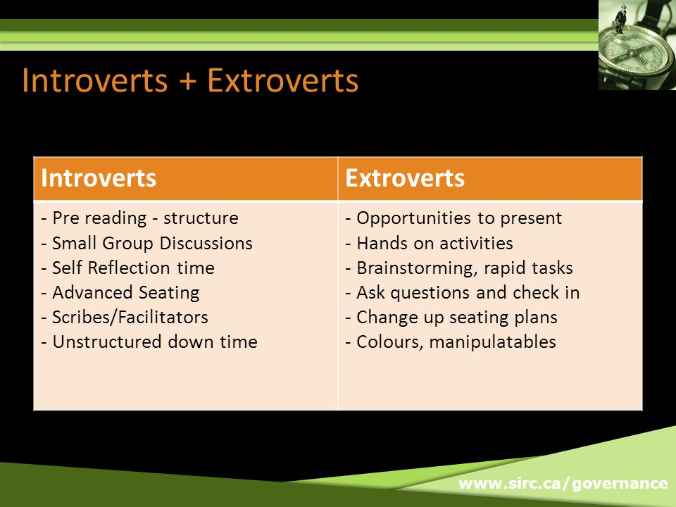 www.sirc.ca/governance Introverts + Extroverts IntrovertsExtroverts - Pre reading - structure - Small Group Discussions - Self Reflection time - Advanced Seating - Scribes/Facilitators - Unstructured down time - Opportunities to present - Hands on activities - Brainstorming, rapid tasks - Ask questions and check in - Change up seating plans - Colours, manipulatables
