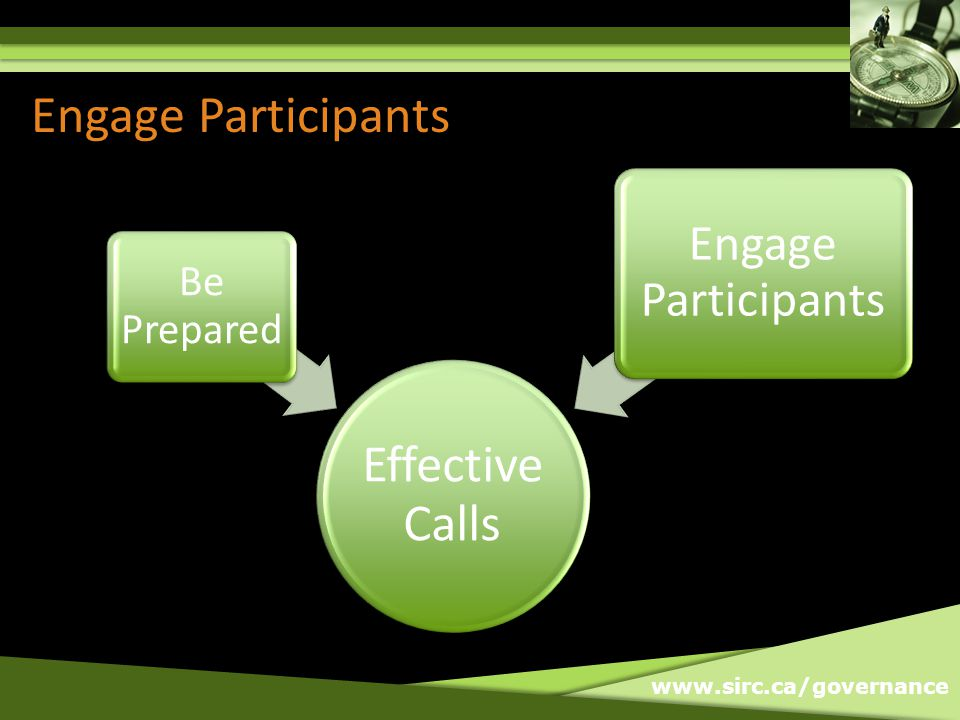www.sirc.ca/governance Engage Participants Effective Calls Be Prepared Engage Participants