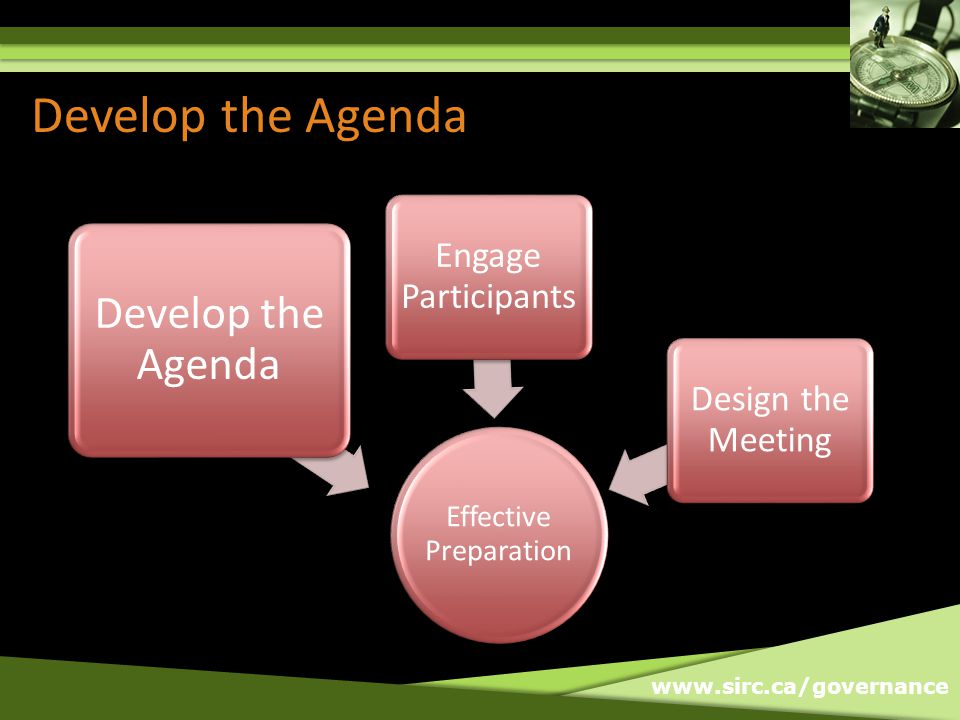 www.sirc.ca/governance Develop the Agenda Effective Preparation Develop the Agenda Engage Participants Design the Meeting