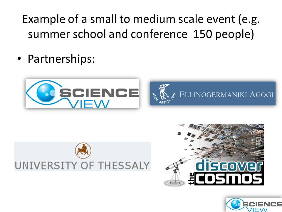 Example of a small to medium scale event (e.g.