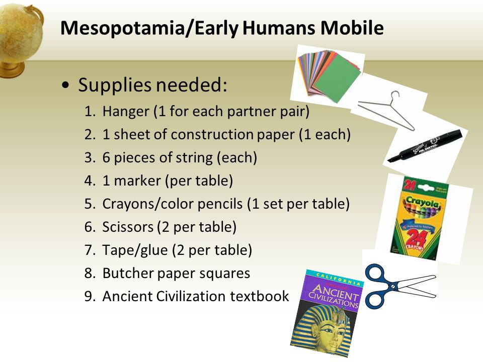 Mesopotamia/Early Humans Mobile Supplies needed: 1.Hanger (1 for each partner pair) 2.1 sheet of construction paper (1 each) 3.6 pieces of string (each) 4.1 marker (per table) 5.Crayons/color pencils (1 set per table) 6.Scissors (2 per table) 7.Tape/glue (2 per table) 8.Butcher paper squares 9.Ancient Civilization textbook