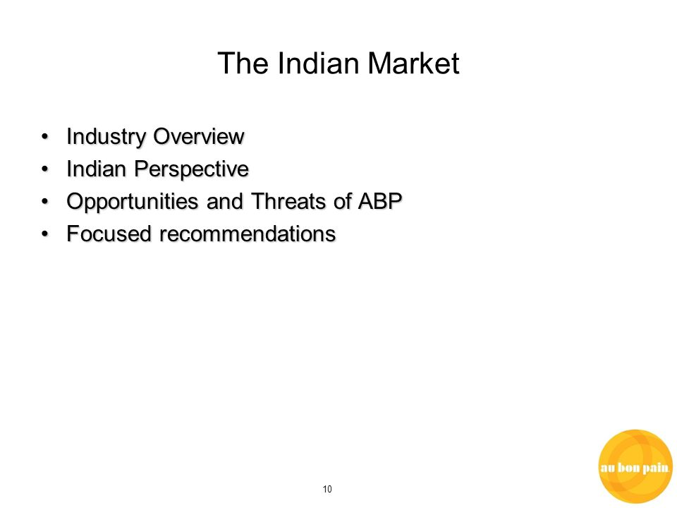 10 The Indian Market Industry OverviewIndustry Overview Indian PerspectiveIndian Perspective Opportunities and Threats of ABPOpportunities and Threats of ABP Focused recommendationsFocused recommendations