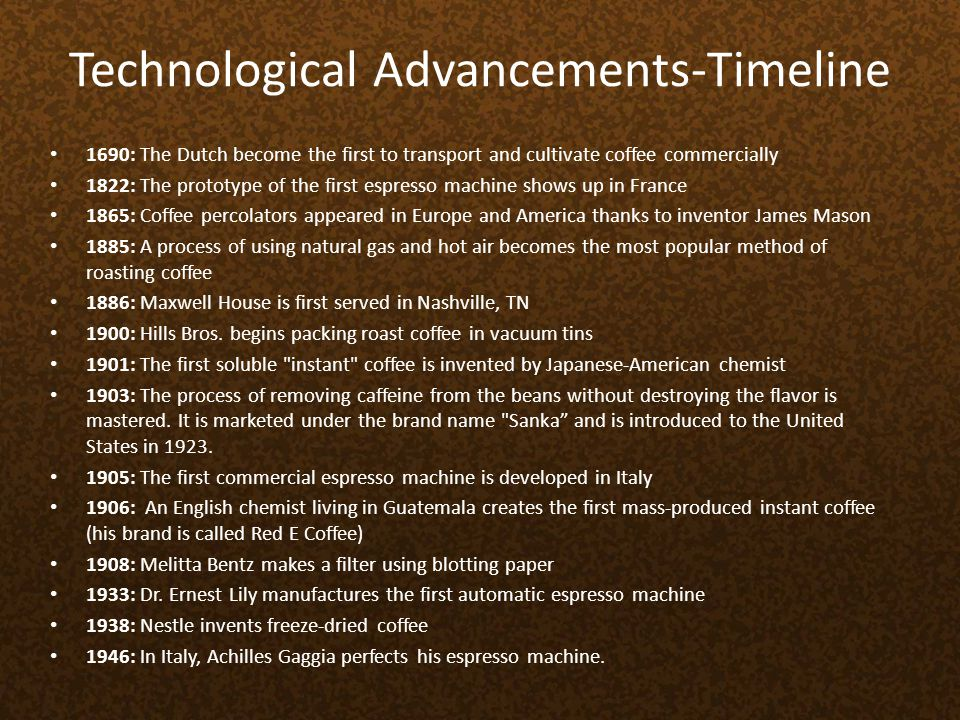 Technological Advancements-Timeline 1690: The Dutch become the first to transport and cultivate coffee commercially 1822: The prototype of the first e