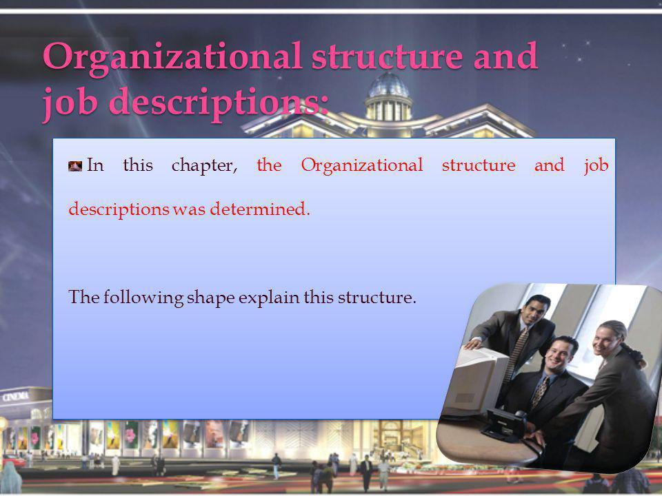 Organizational structure and job descriptions: In this chapter, the Organizational structure and job descriptions was determined.