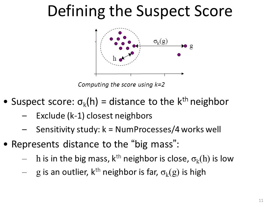 11 Defining the Suspect Score Suspect score: σ k (h) = distance to the k th neighbor –Exclude (k-1) closest neighbors –Sensitivity study: k = NumProcesses/4 works well Represents distance to the big mass : –h is in the big mass, k th neighbor is close, σ k (h) is low –g is an outlier, k th neighbor is far, σ k (g) is high g h σ k (g) Computing the score using k=2