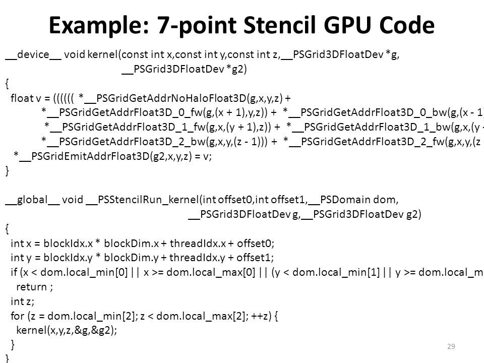 Example: 7-point Stencil GPU Code __device__ void kernel(const int x,const int y,const int z,__PSGrid3DFloatDev *g, __PSGrid3DFloatDev *g2) { float v