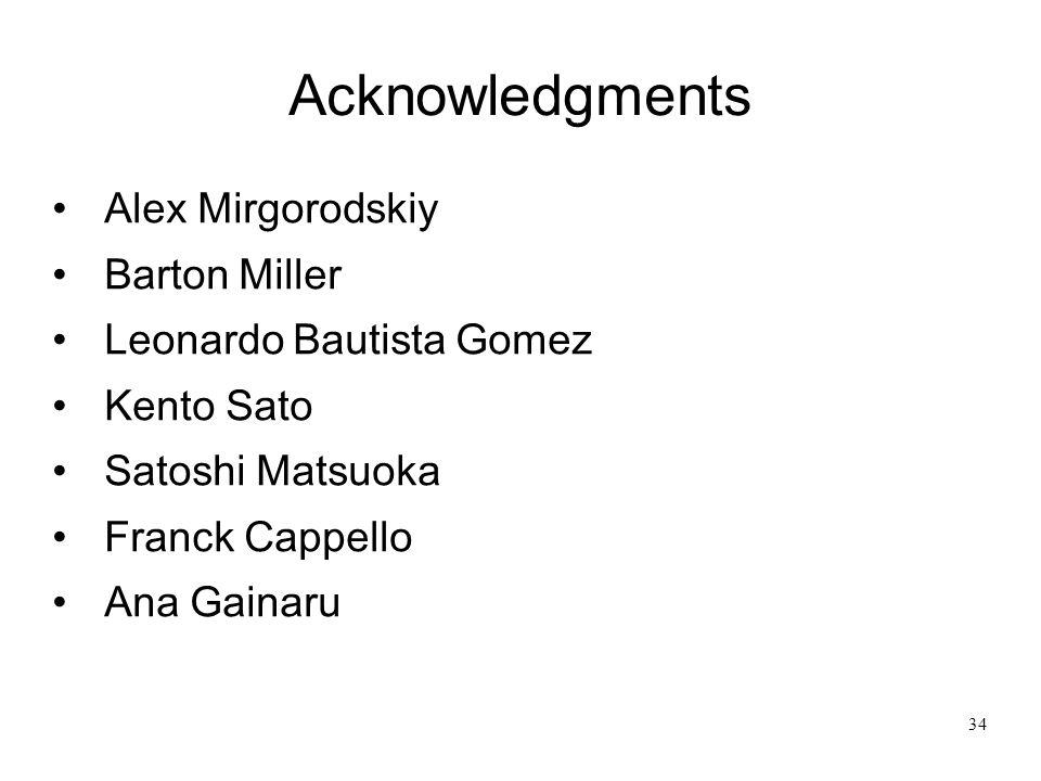 Acknowledgments Alex Mirgorodskiy Barton Miller Leonardo Bautista Gomez Kento Sato Satoshi Matsuoka Franck Cappello Ana Gainaru 34