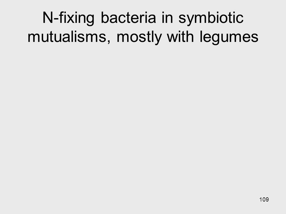 109 N-fixing bacteria in symbiotic mutualisms, mostly with legumes