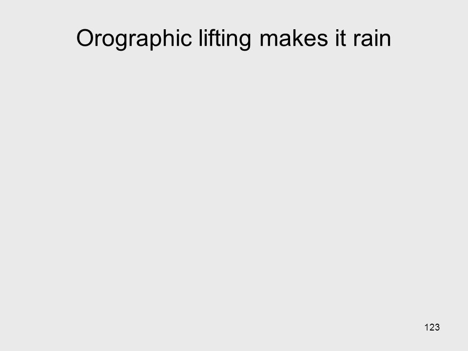 123 Orographic lifting makes it rain