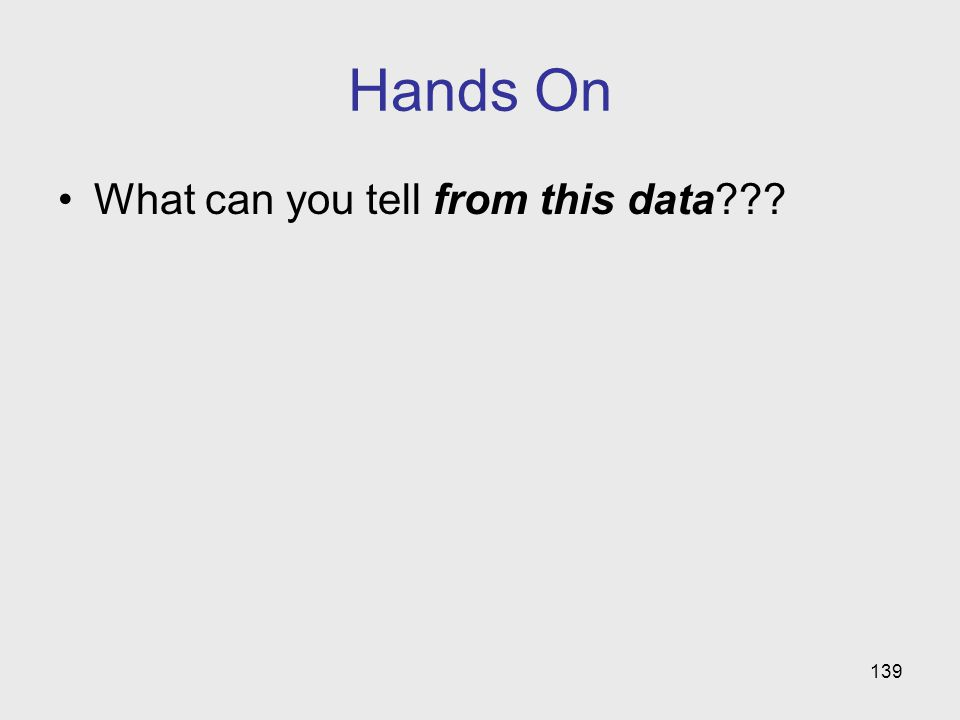 Hands On What can you tell from this data 139