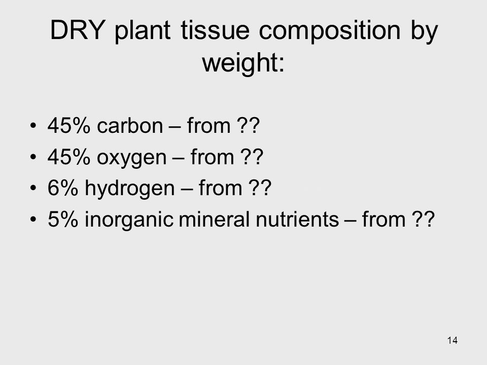 14 DRY plant tissue composition by weight: 45% carbon – from ?.