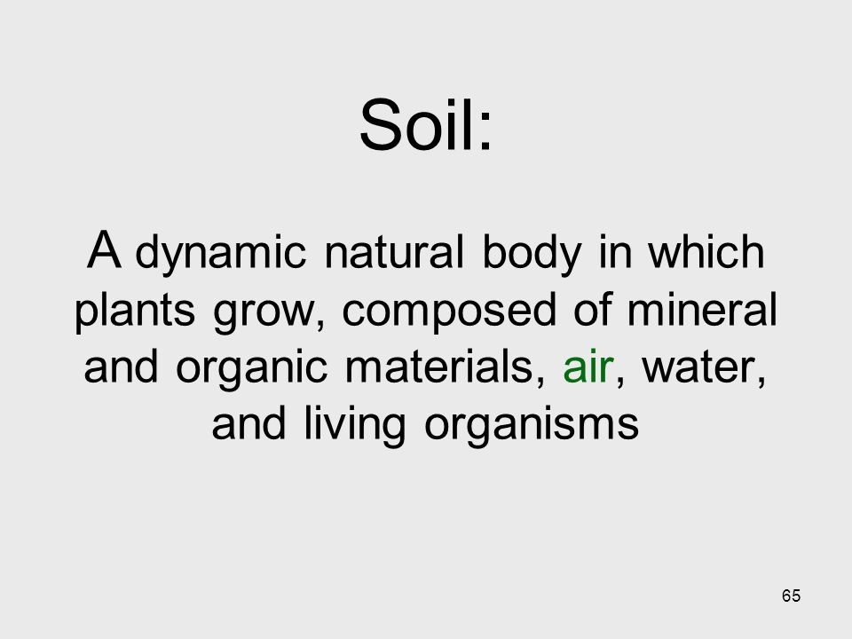 65 Soil: A dynamic natural body in which plants grow, composed of mineral and organic materials, air, water, and living organisms