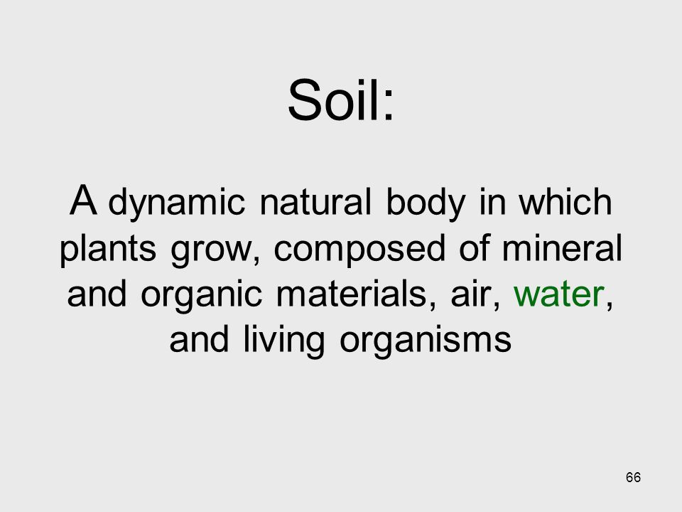 66 Soil: A dynamic natural body in which plants grow, composed of mineral and organic materials, air, water, and living organisms