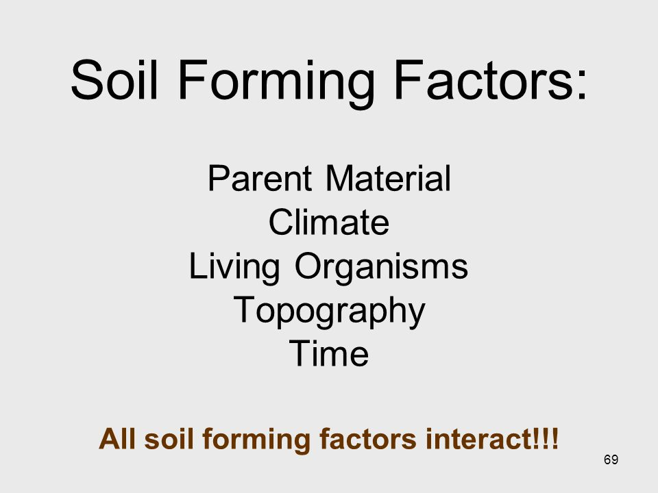 69 Soil Forming Factors: Parent Material Climate Living Organisms Topography Time All soil forming factors interact!!!