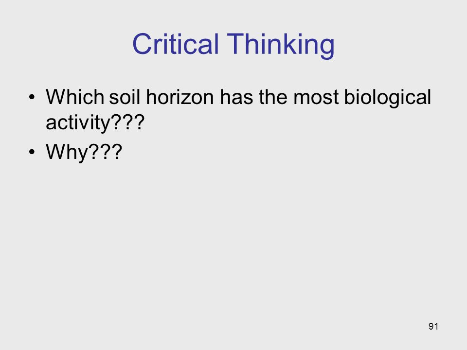 91 Critical Thinking Which soil horizon has the most biological activity Why