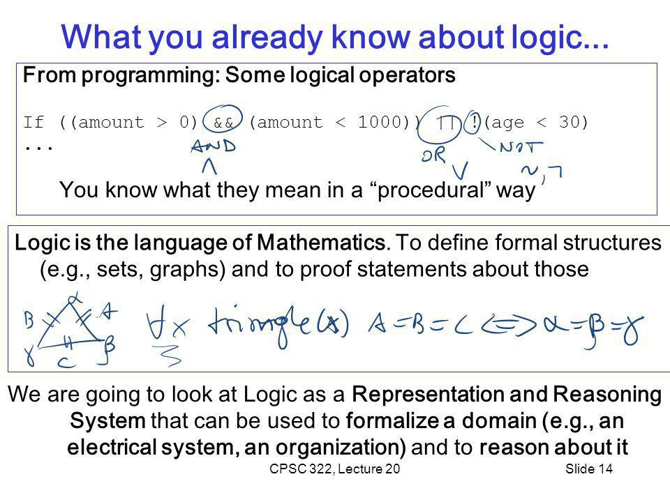 CPSC 322, Lecture 20Slide 14 What you already know about logic...