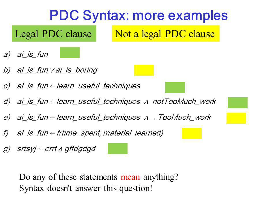 PDC Syntax: more examples a)ai_is_fun b)ai_is_fun ai_is_boring c)ai_is_fun learn_useful_techniques d)ai_is_fun learn_useful_techniques notTooMuch_work e)ai_is_fun learn_useful_techniques TooMuch_work f)ai_is_fun f(time_spent, material_learned) g)srtsyj errt gffdgdgd Do any of these statements mean anything.