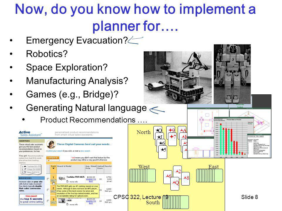 West North East South 6 2 8 Q Q J 6 5 9 7 A K 5 3 A 9 CPSC 322, Lecture 19Slide 8 Now, do you know how to implement a planner for….