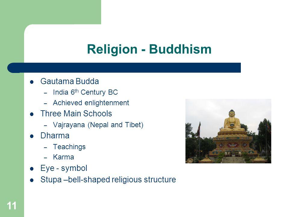 11 Religion - Buddhism Gautama Budda – India 6 th Century BC – Achieved enlightenment Three Main Schools – Vajrayana (Nepal and Tibet) Dharma – Teachings – Karma Eye - symbol Stupa –bell-shaped religious structure