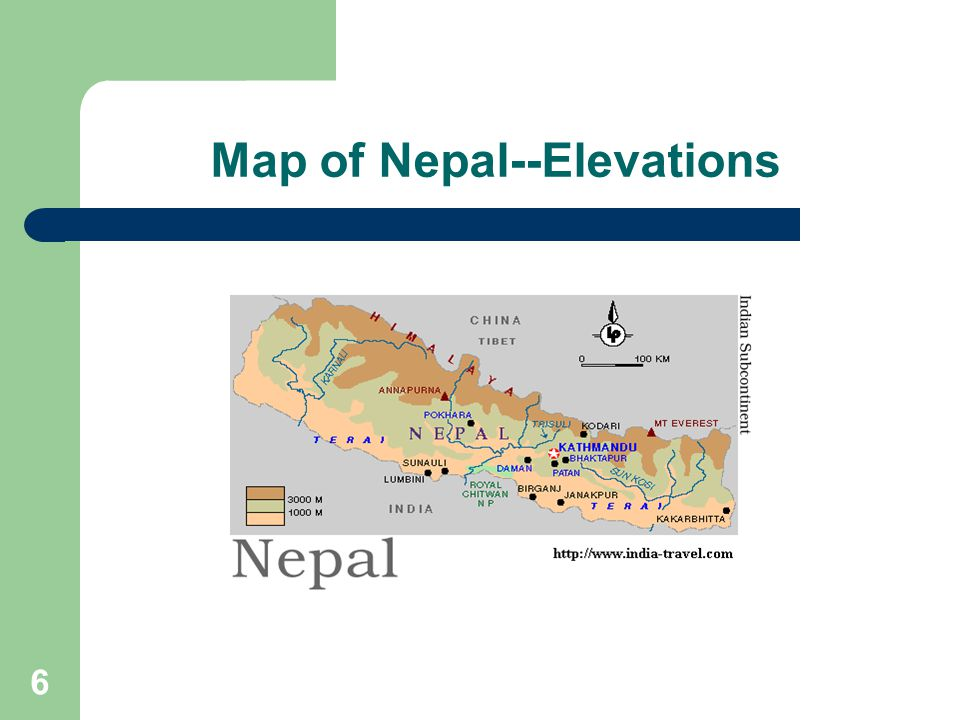 6 Map of Nepal--Elevations