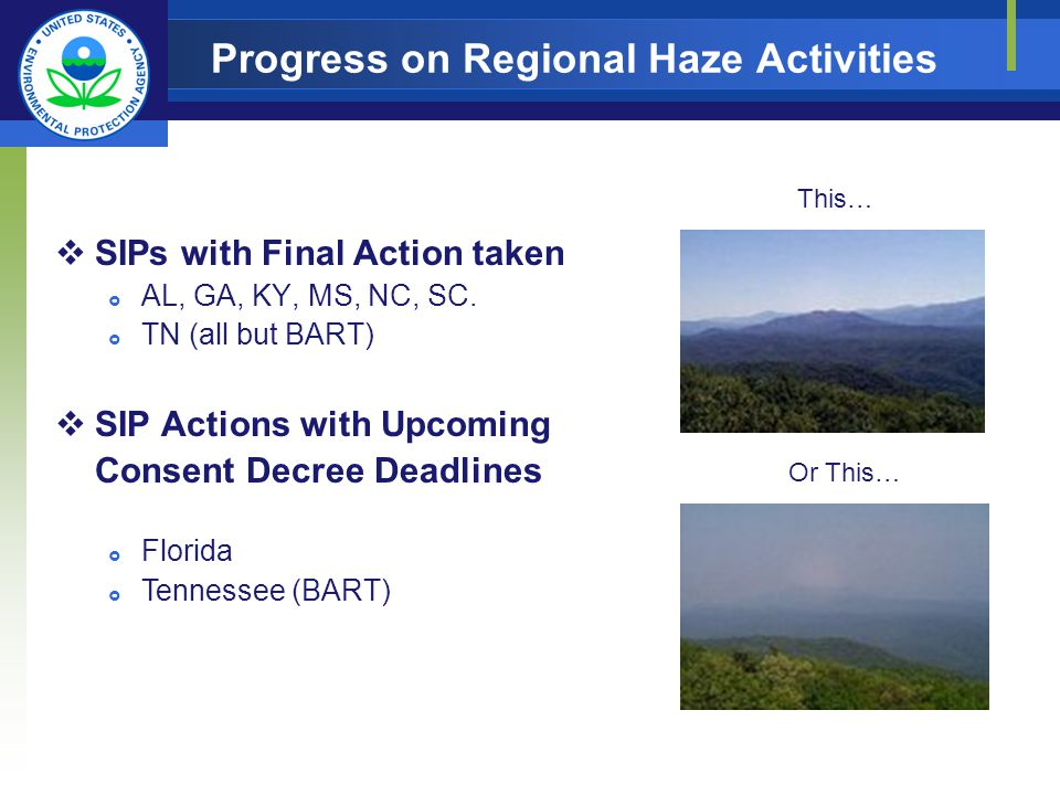 Progress on Regional Haze Activities SIPs with Final Action taken AL, GA, KY, MS, NC, SC. TN (all but BART) SIP Actions with Upcoming Consent Decree D