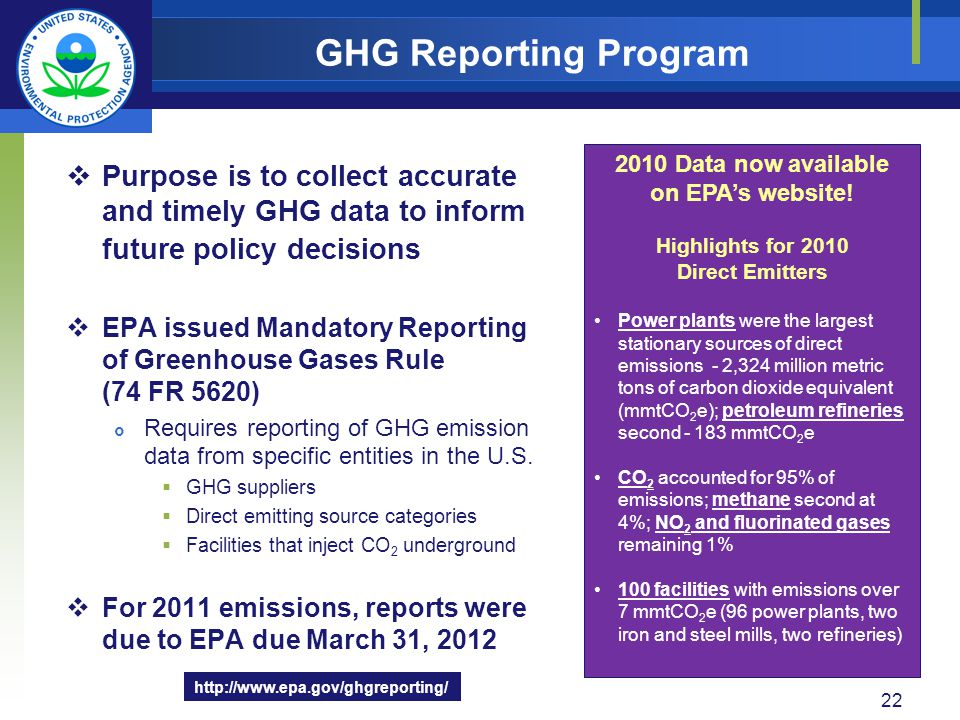 Purpose is to collect accurate and timely GHG data to inform future policy decisions EPA issued Mandatory Reporting of Greenhouse Gases Rule (74 FR 56